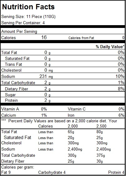 Nutrition Facts Item 01334