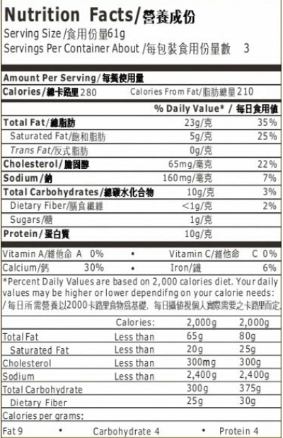 Nutrition Facts Item 04204