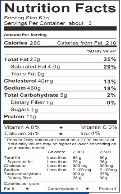 Nutrition Facts Item 04205