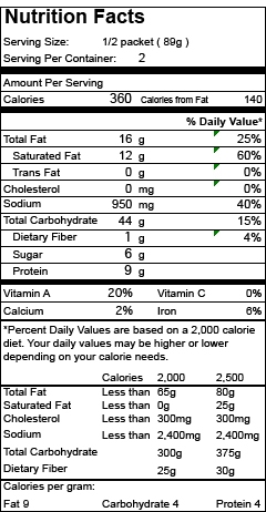 Nutrition Facts Item 11963