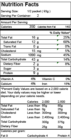Nutrition Facts Item 11995