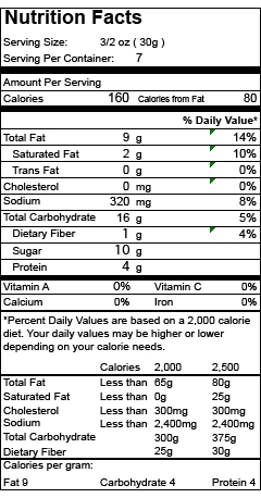 Nutrition Facts Item 14507