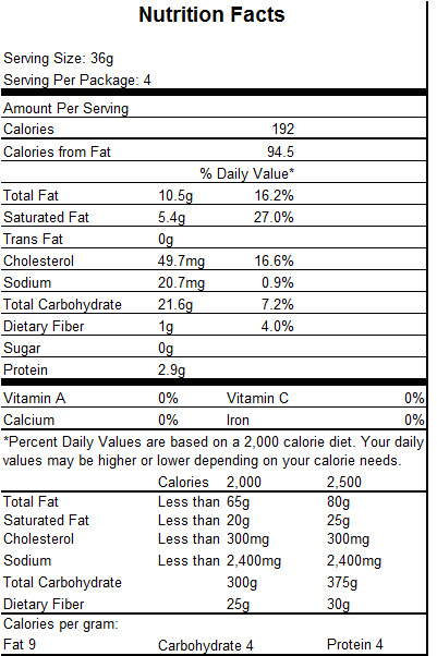Nutrition Facts Item 16348